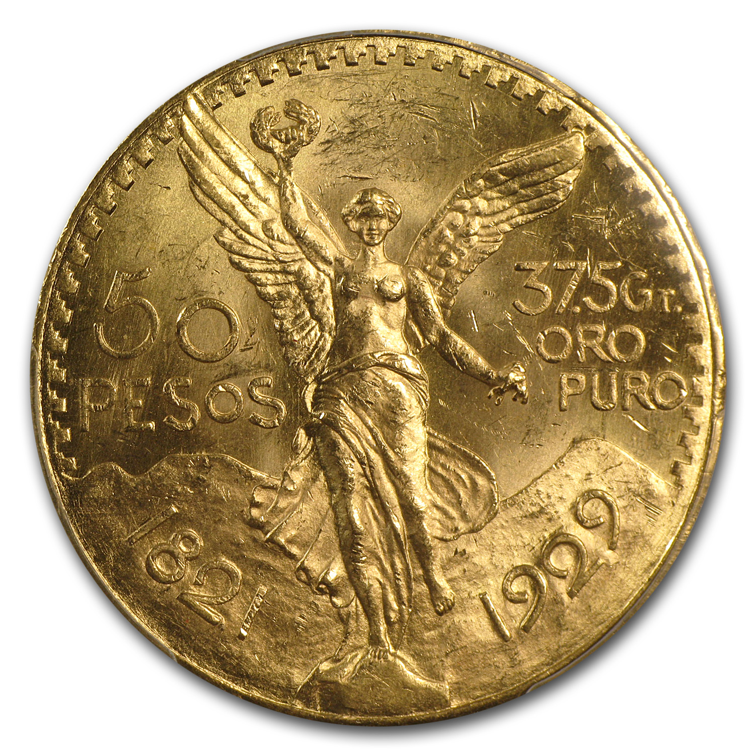 Mexico 1929 50 Pesos Gold Coin - MS-63 PCGS