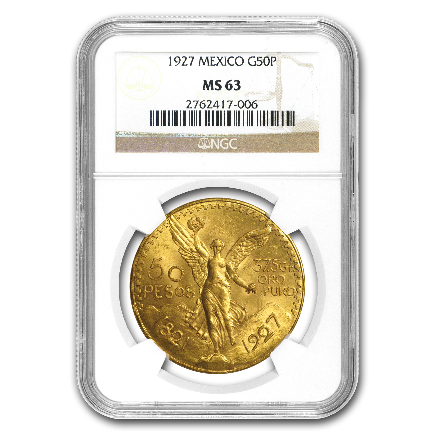 1927 Mexico Gold 50 Pesos MS-63 NGC