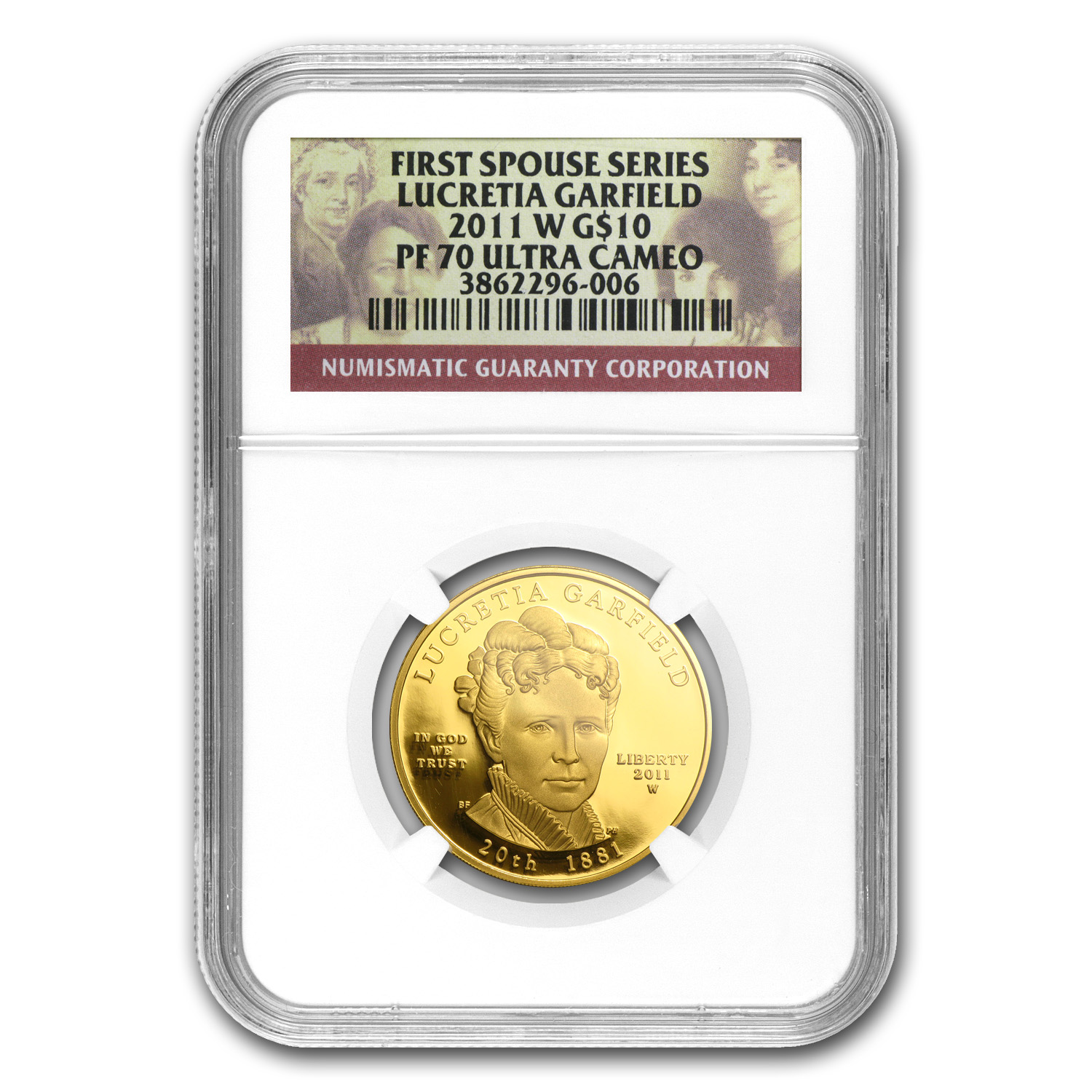 2011-W 1/2 oz Proof Gold Lucretia Garfield PF-70 NGC