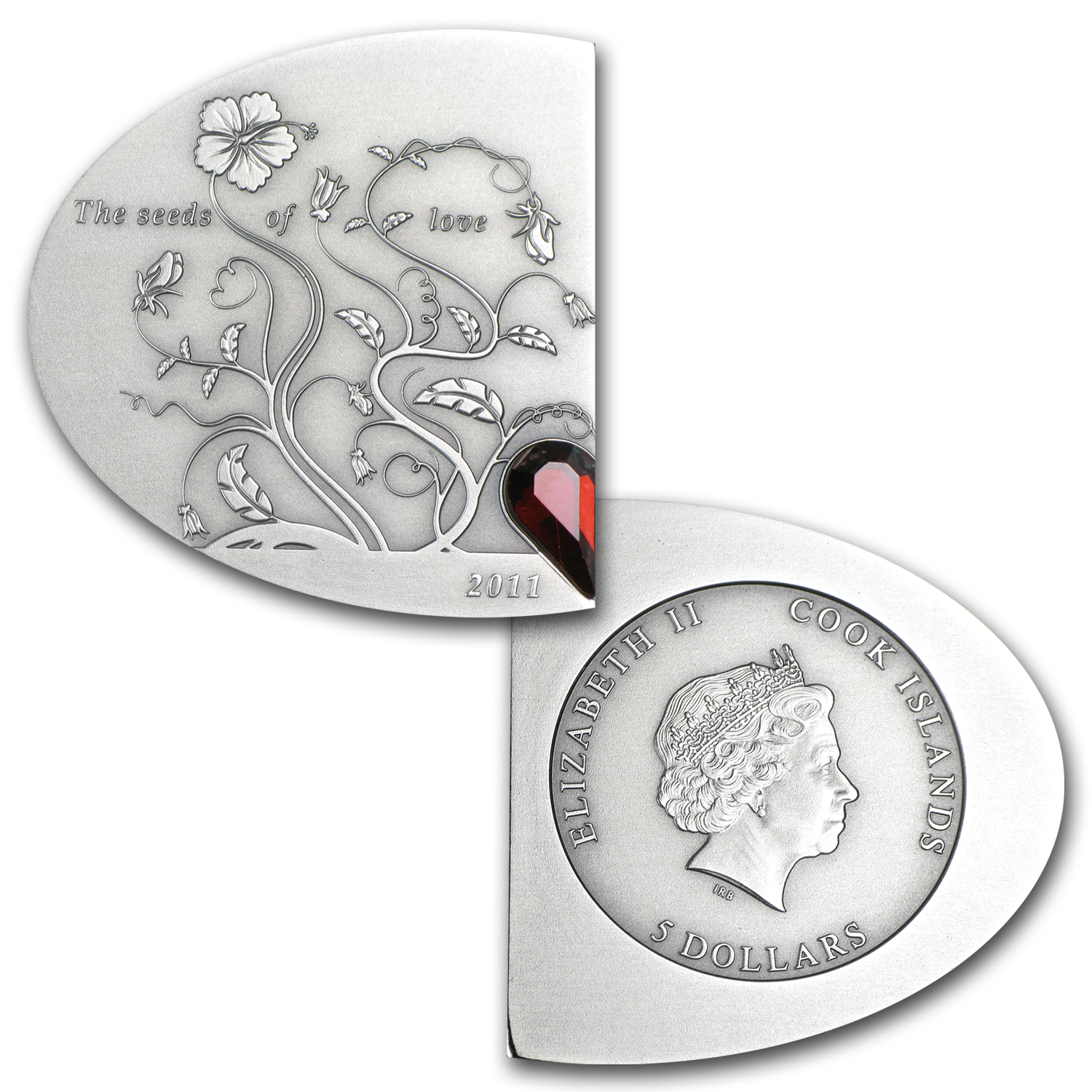 2011 Cook Islands Silver $5 The Seeds of Love (Antique Finish)