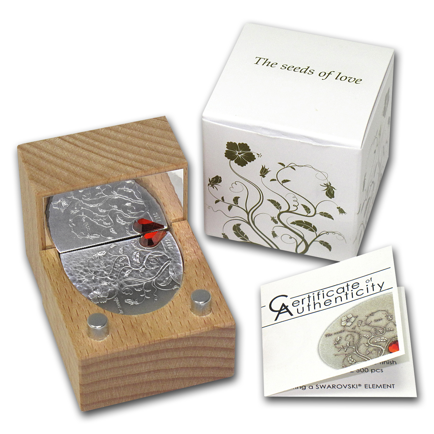 Cook Islands 2011 Silver Antique Finish $5 - The Seeds of Love