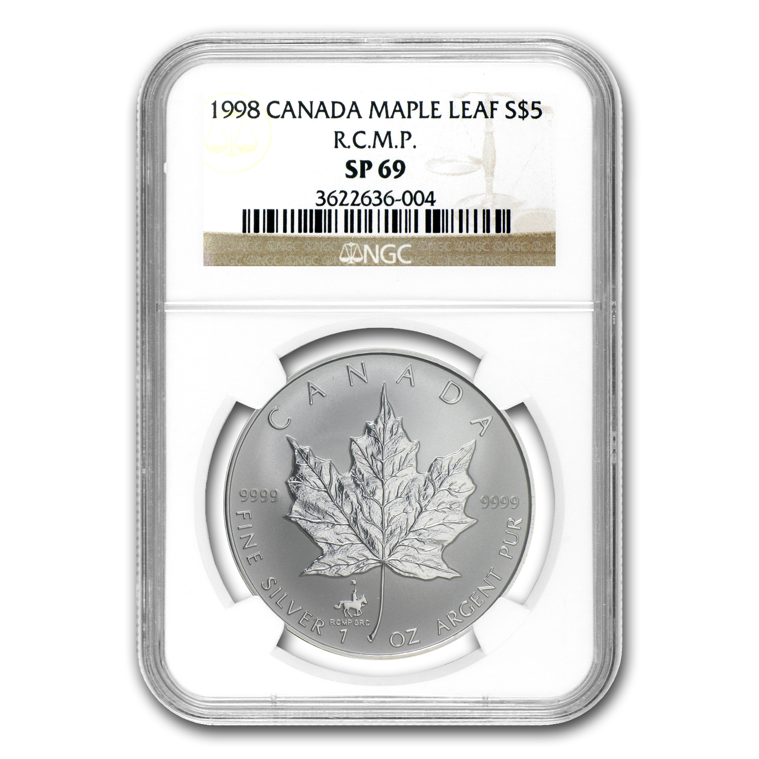 1998 1 oz Silver Canadian Maple Leaf - RCMP Privy SP-69 NGC