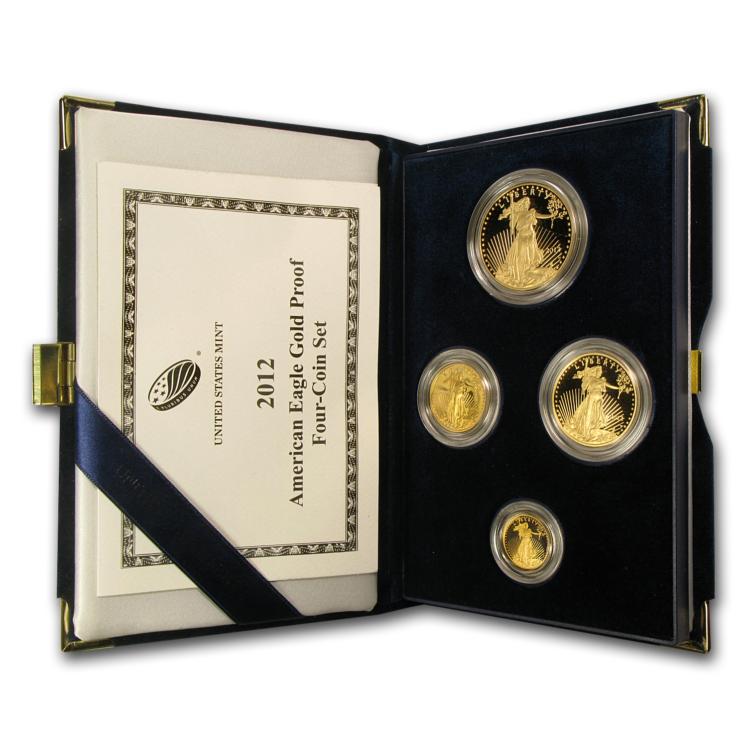 2012-W 4-Coin Proof Gold American Eagle Set (w/Box & CoA)