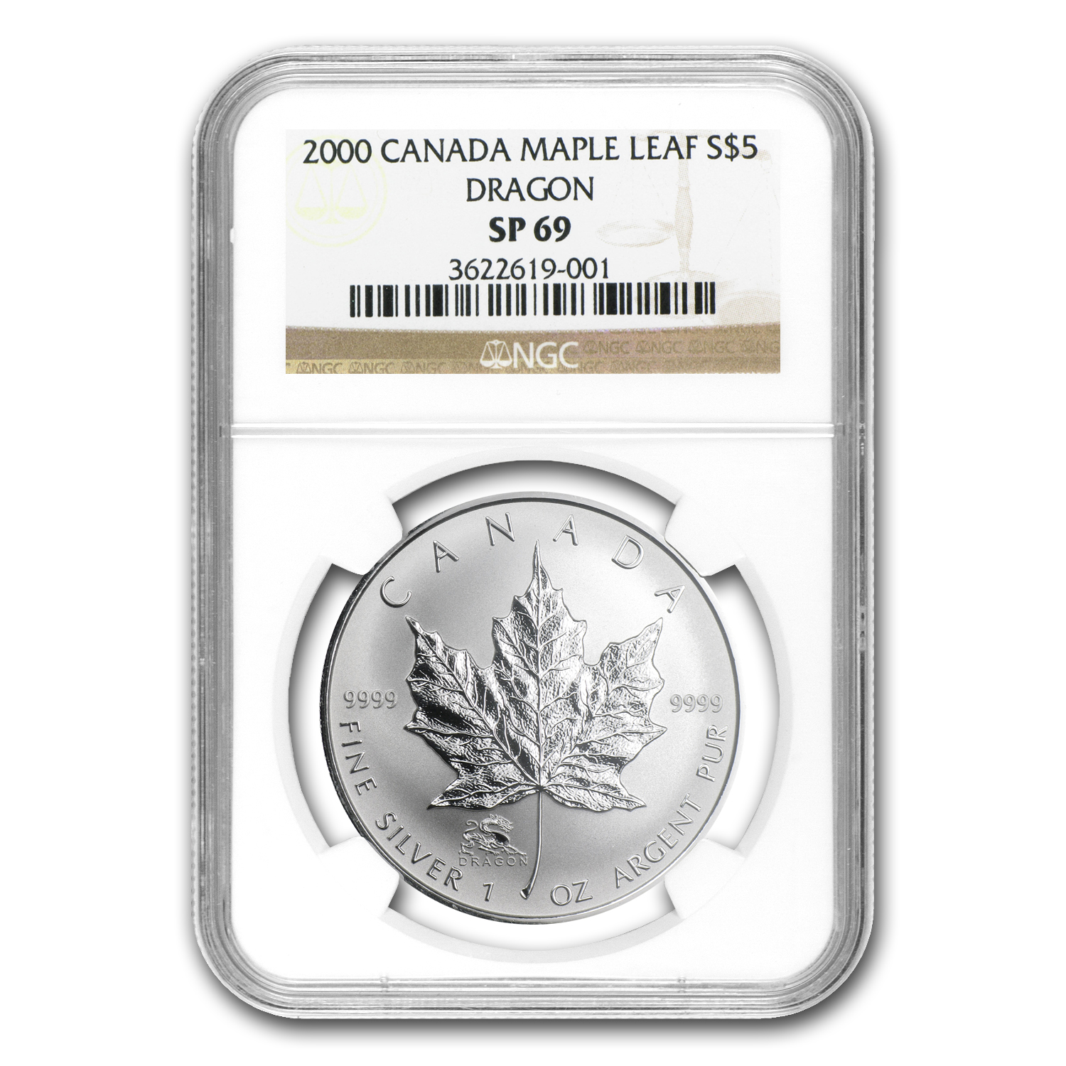2000 1 oz Silver Canadian Maple Leaf Dragon Privy - SP-69 NGC