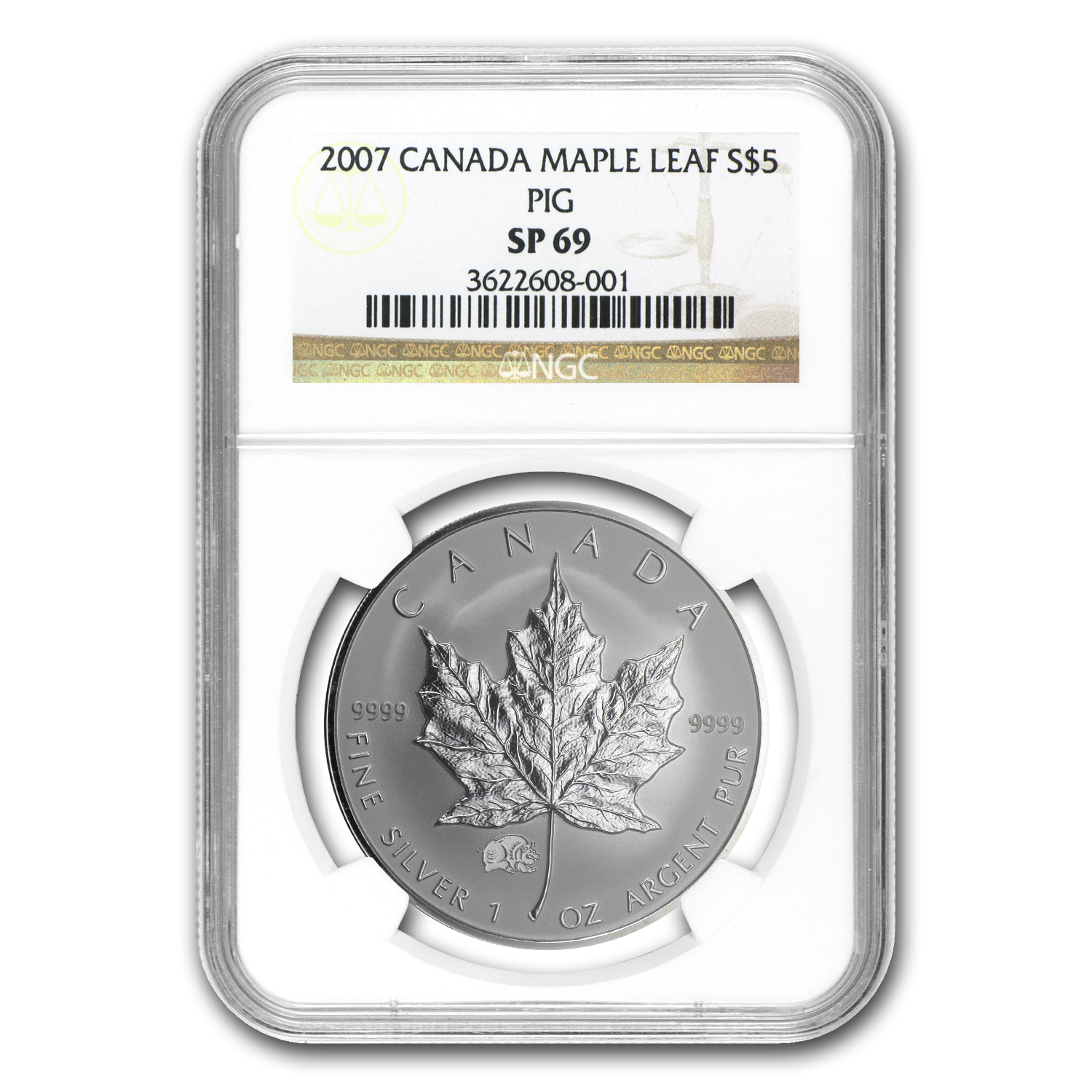 2007 1 oz Silver Canadian Maple Leaf - Lunar PIG Privy SP-69 NGC