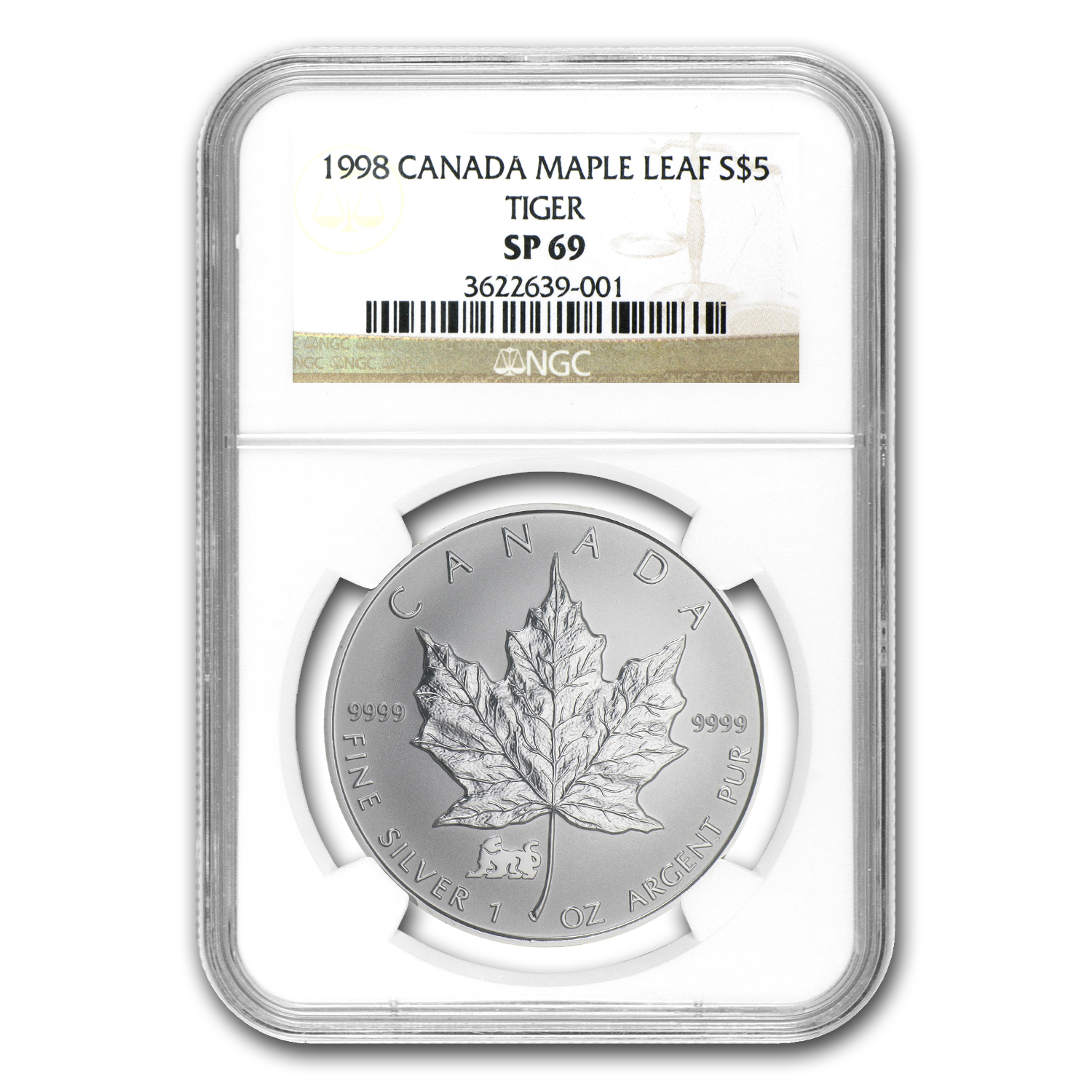 1998 1oz Silver Canadian Maple Leaf - Lunar TIGER Privy SP-69 NGC