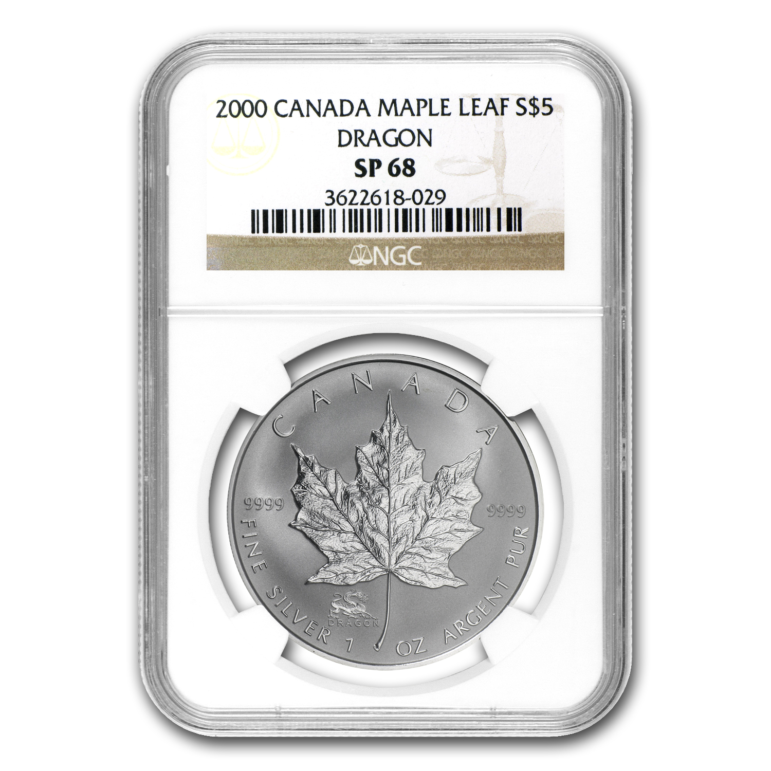 2000 Canada 1 oz Silver Maple Leaf Dragon Privy SP-68 NGC