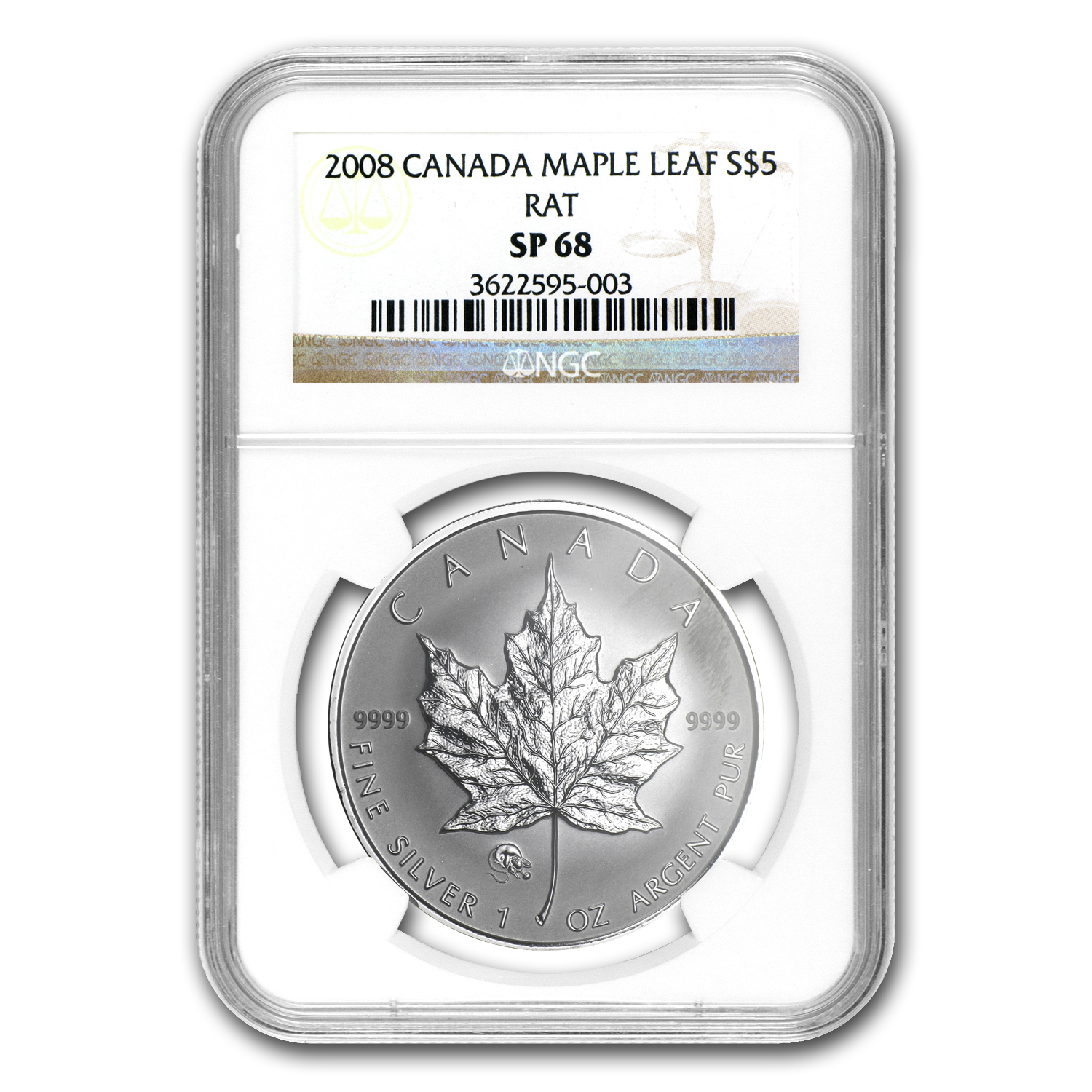 2008 1 oz Silver Canadian Maple Leaf - Lunar RAT Privy SP-68 NGC
