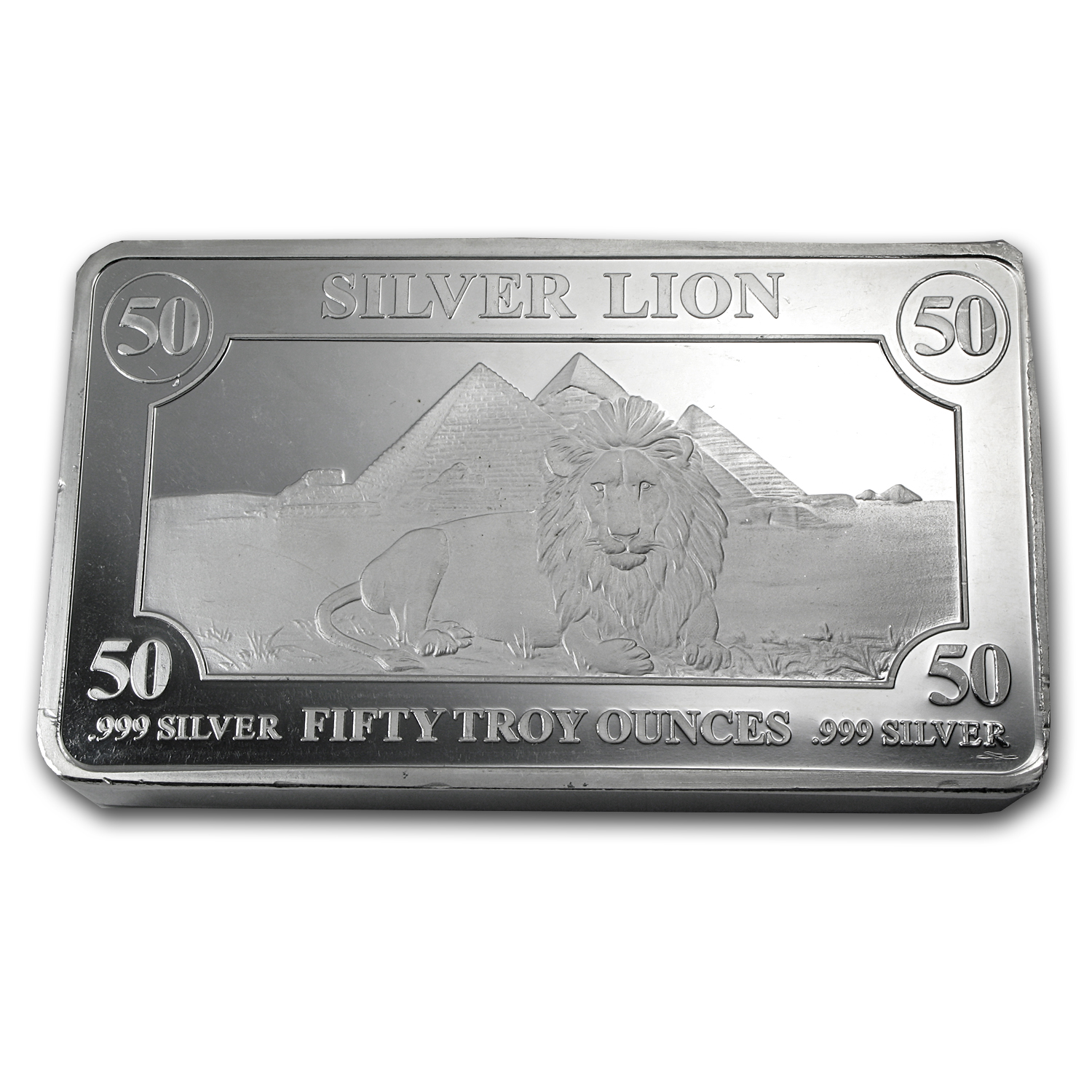 50 oz Silver Bar - Lion