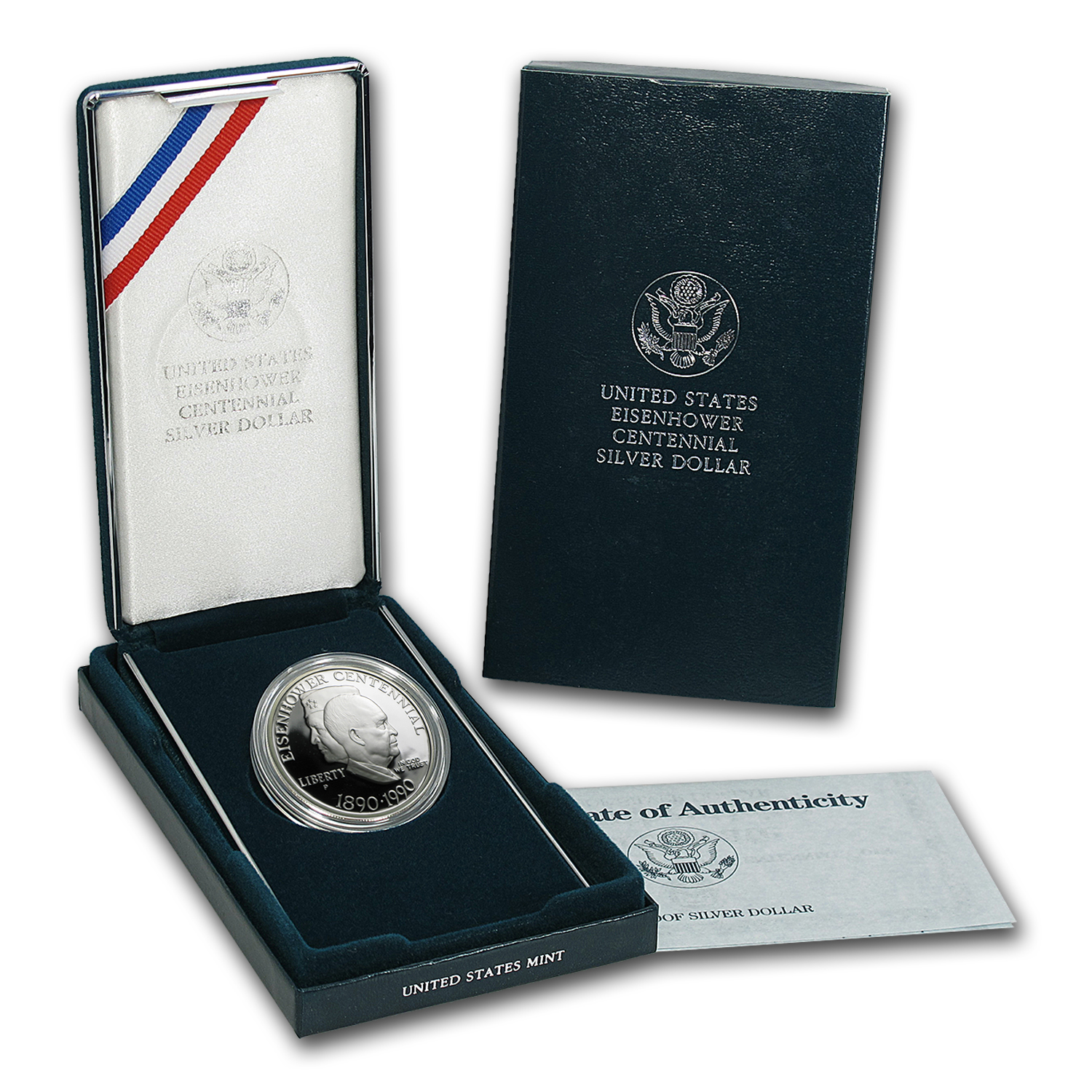 1990-P Eisenhower Centennial $1 Silver Commem Proof (w/Box & COA)