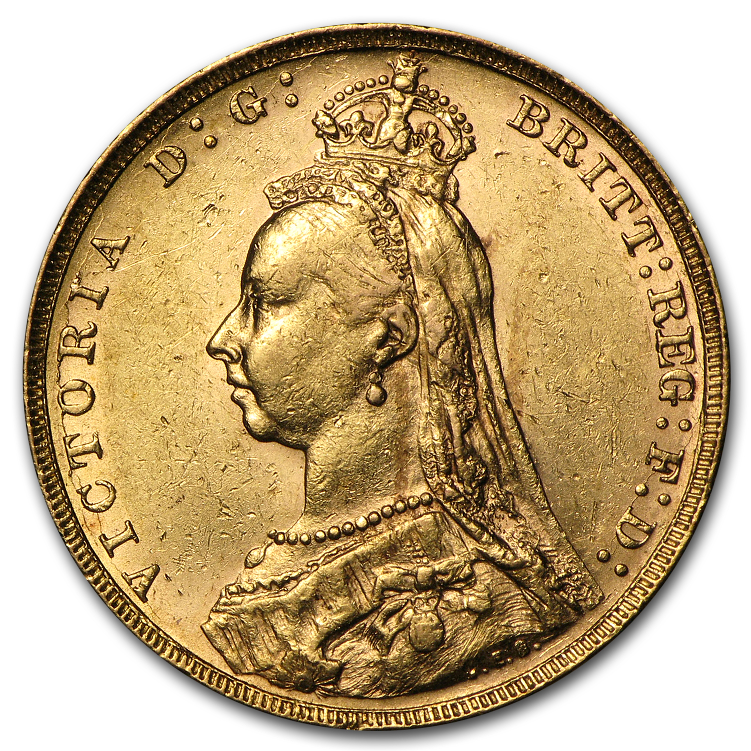 1887-1892 Great Britain Gold Sovereign Victoria Jubilee Avg Circ