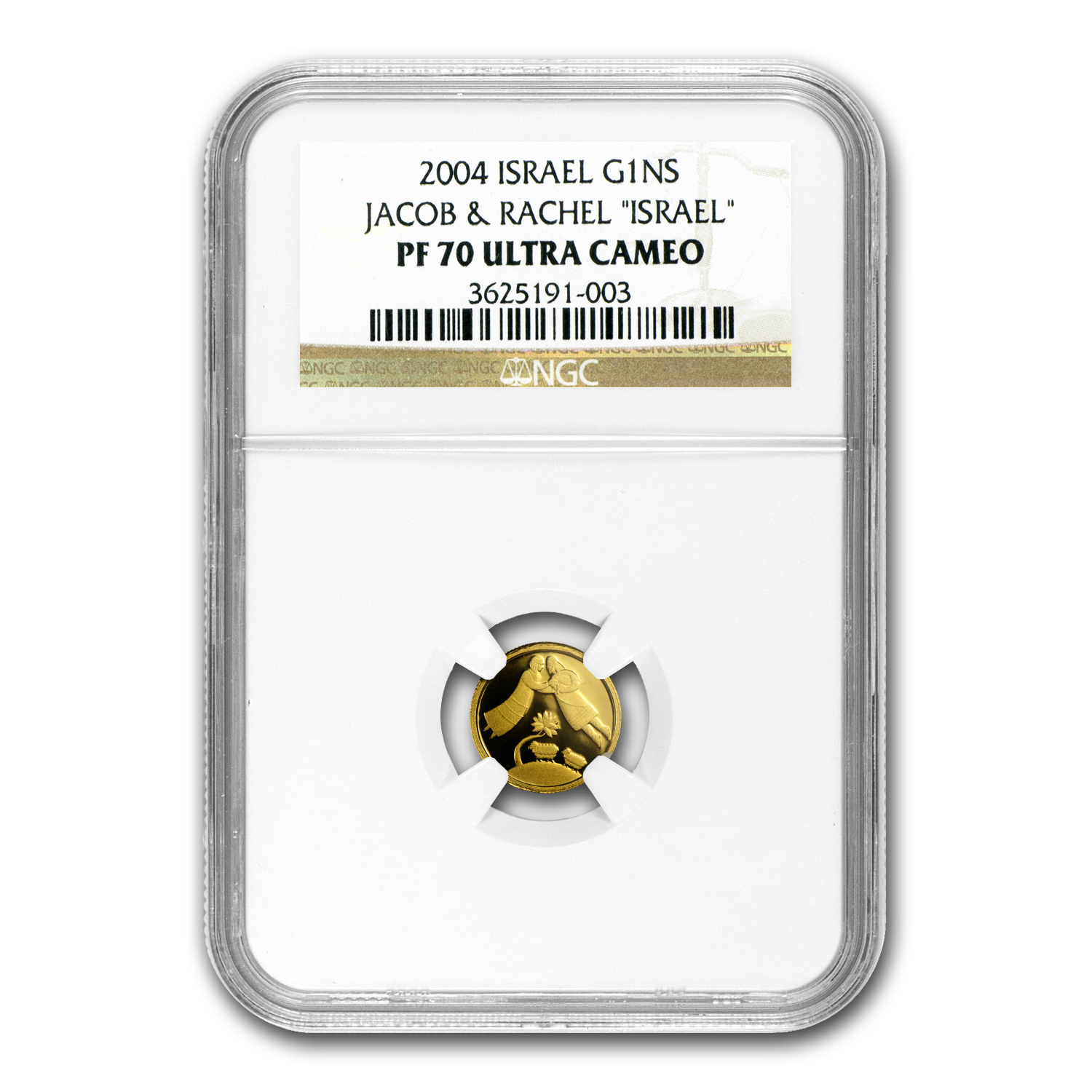 2004 Israel Jacob & Rachel Smallest Gold Coin PF-70 UCAM NGC
