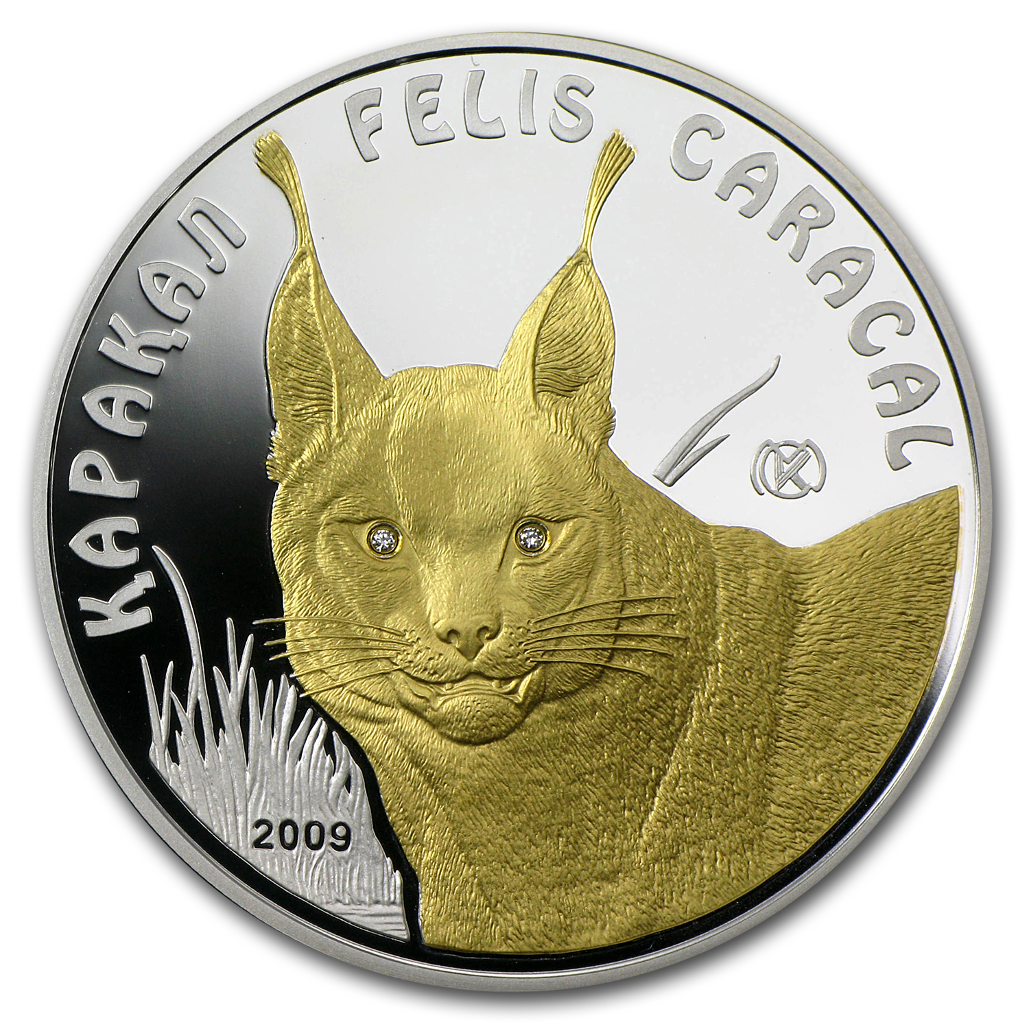 2009 Kazakhstan Silver 100 Tenge Endangered Animal Caracal Proof