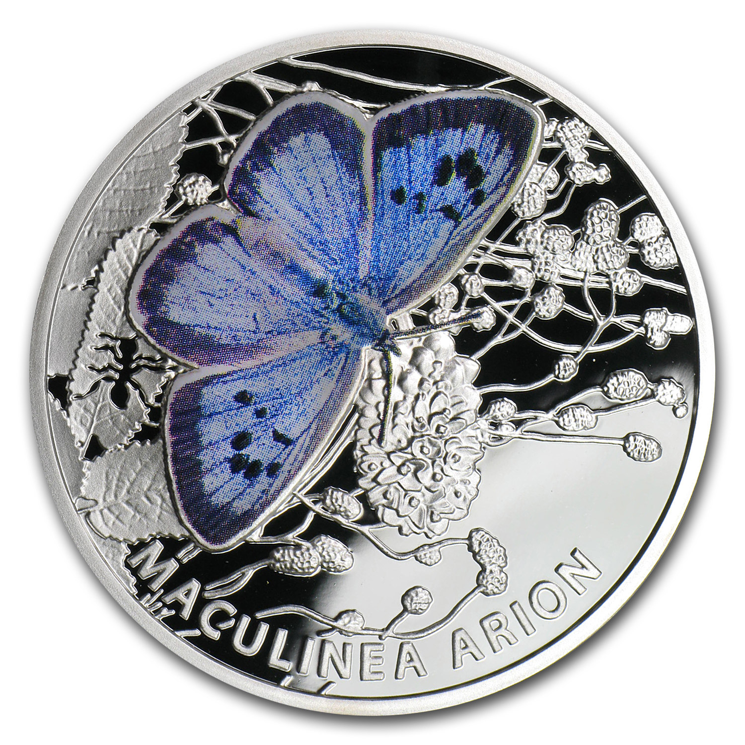 Niue 2011 Proof Silver $1 Butterflies - Large Blue