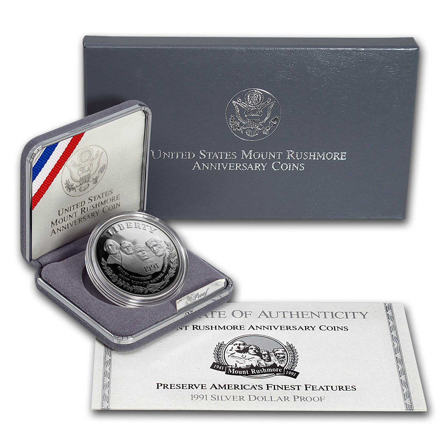 1991-S Mount Rushmore $1 Silver Commem Proof (w/Box & COA)