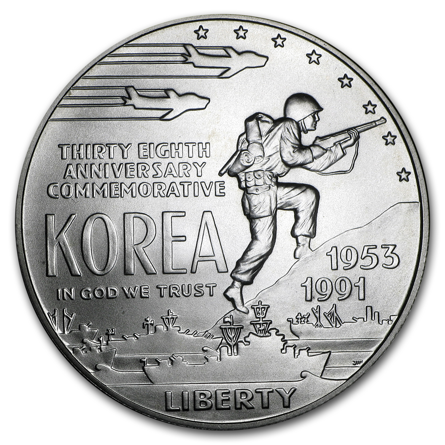 1991-D Korean War $1 Silver Commem BU (w/Box & COA)