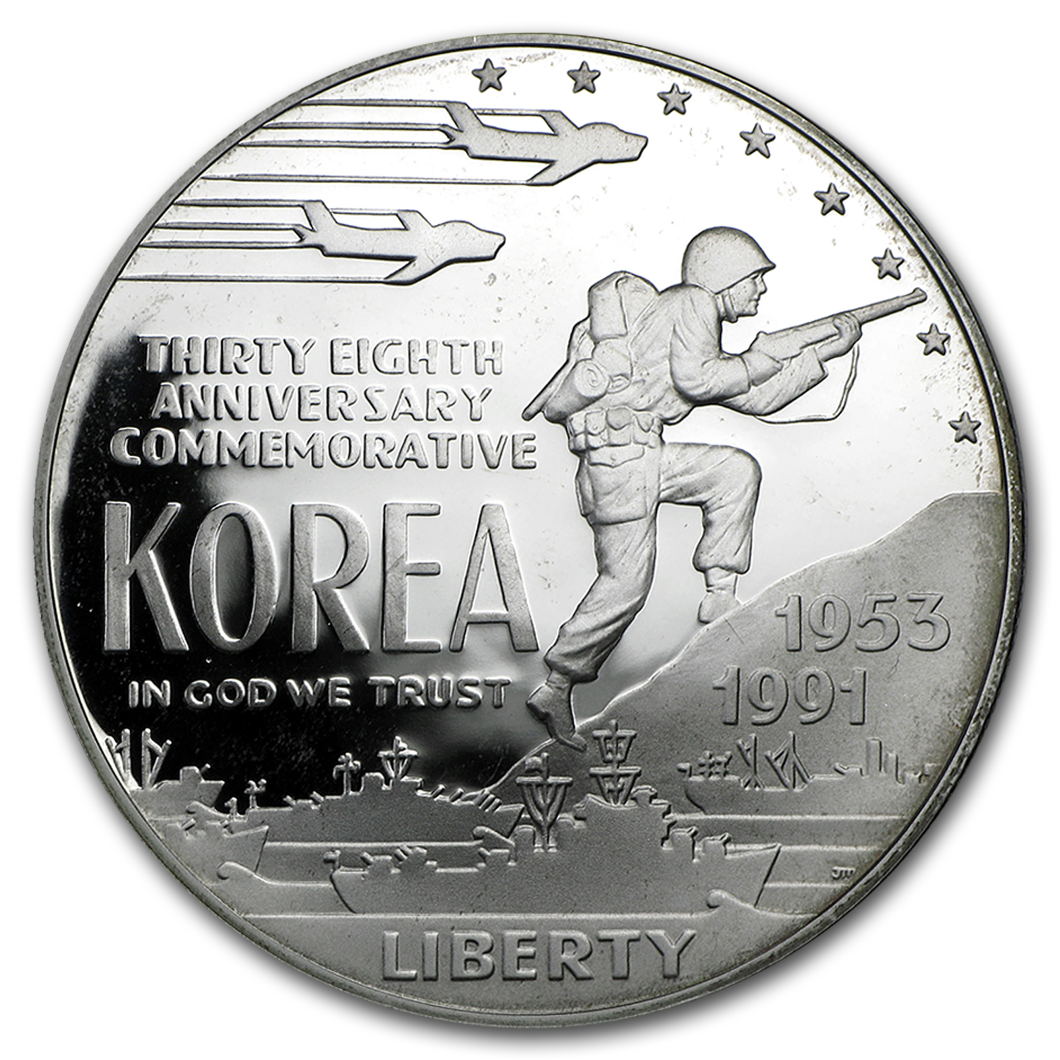 1991-P Korean War $1 Silver Commem Proof (w/Box & COA)