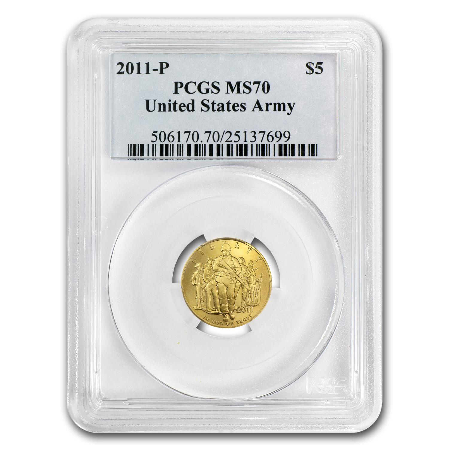 2011-P Gold $5 Commem Army MS-70 PCGS