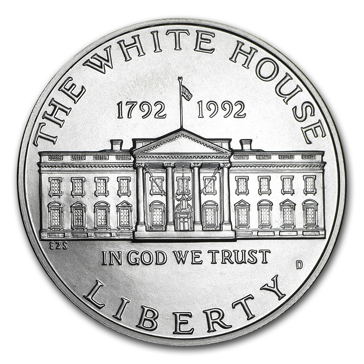 1992-D White House $1 Silver Commem BU (w/Box & COA)