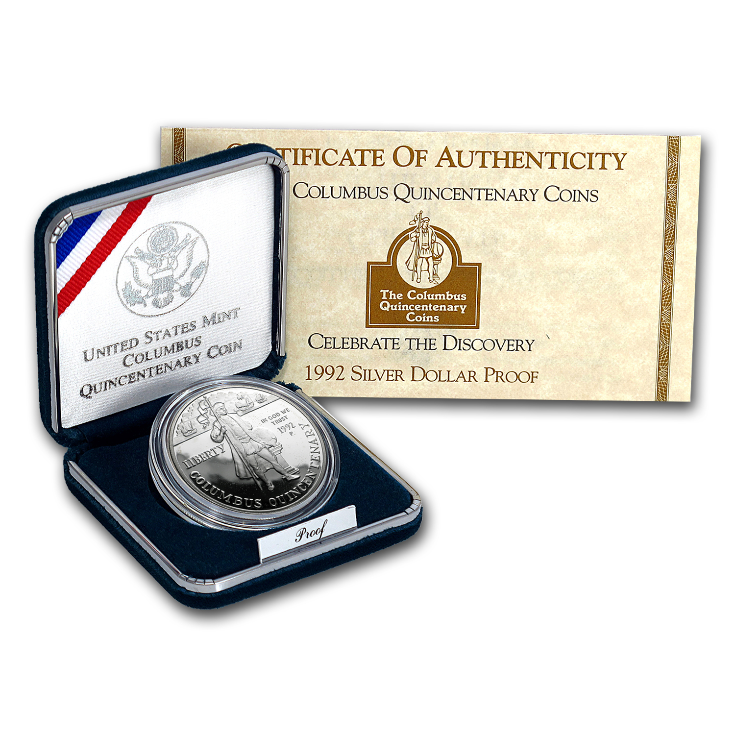 1992-P Columbus Quincentenary $1 Silver Commem Prf (w/Box & COA)