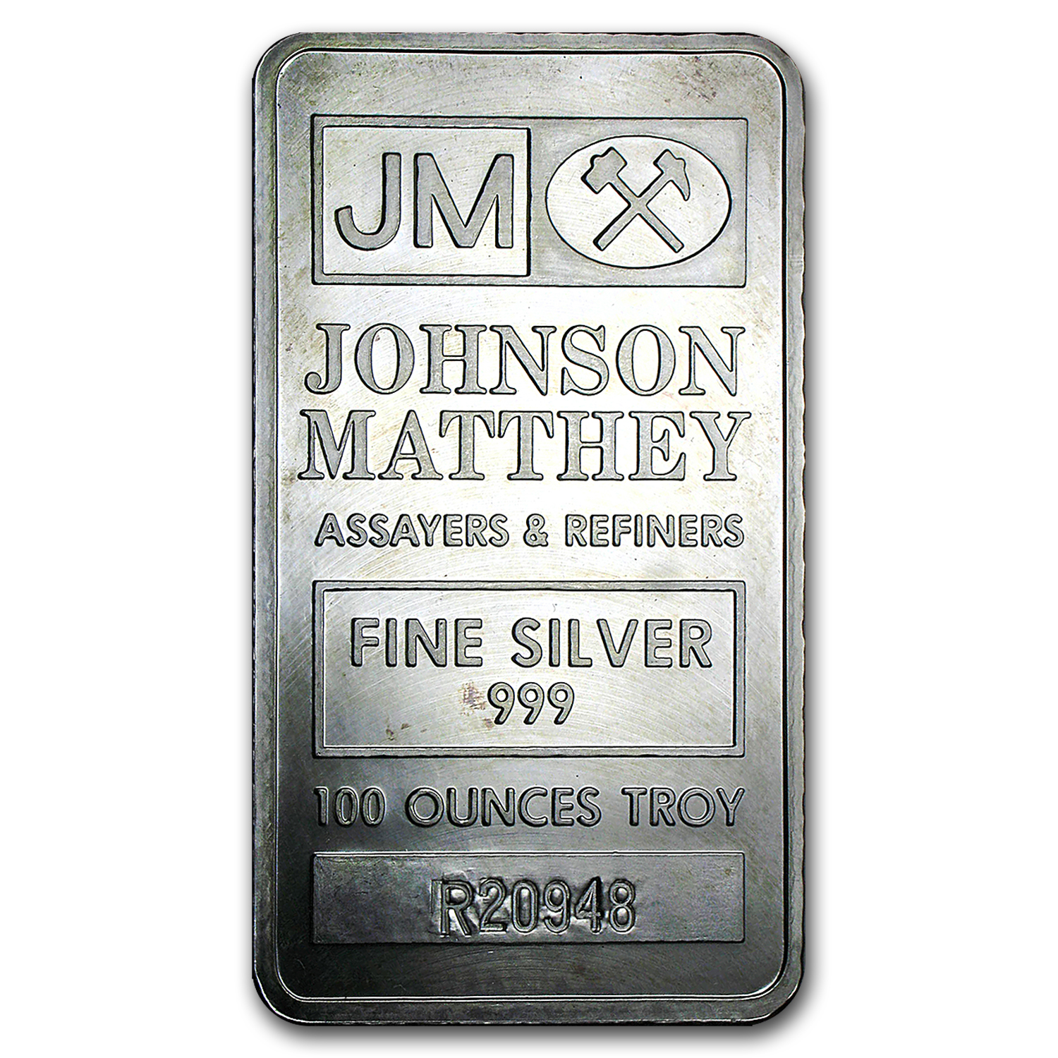 100 oz Silver Bar - Johnson Matthey (Pressed, Matching Serial #s)