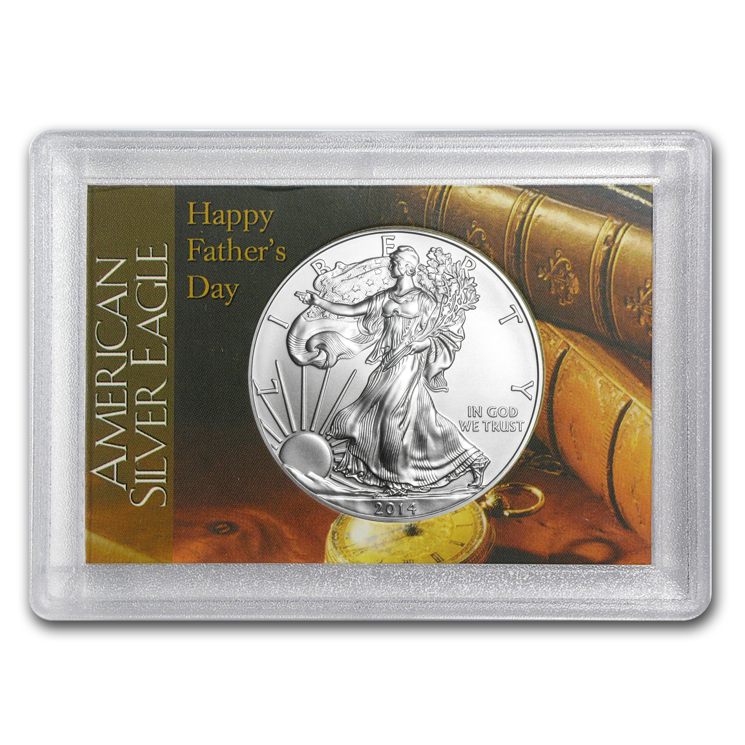 2014 1 oz Silver Eagle in Happy Father's Day Design Harris Holder
