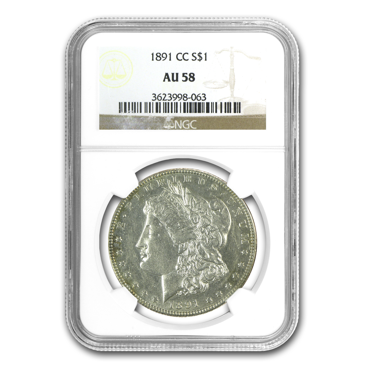 1891-CC Morgan Dollar AU-58 NGC