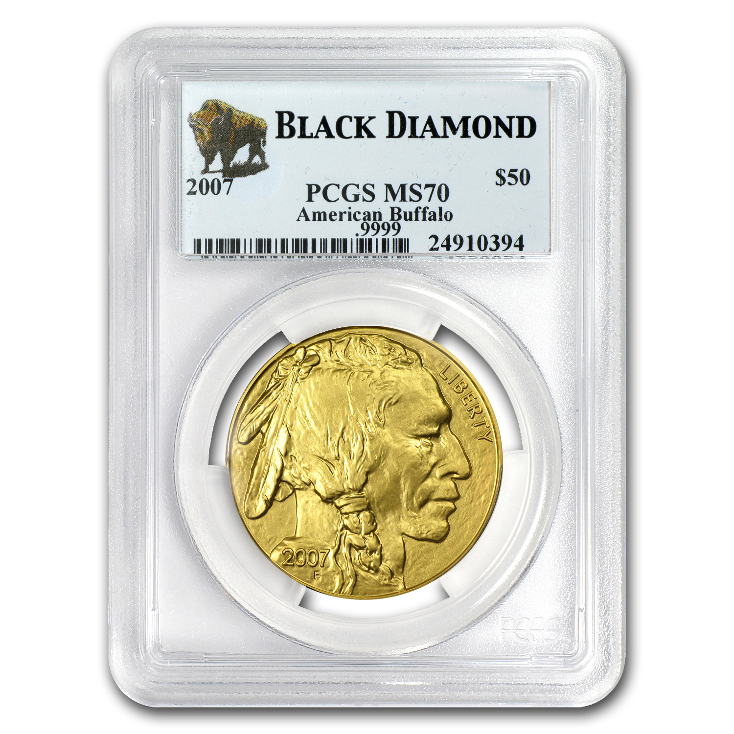 2006-2012 7-Coin 1 oz Gold Buffalo Set MS-70 PCGS (Black Diamond)