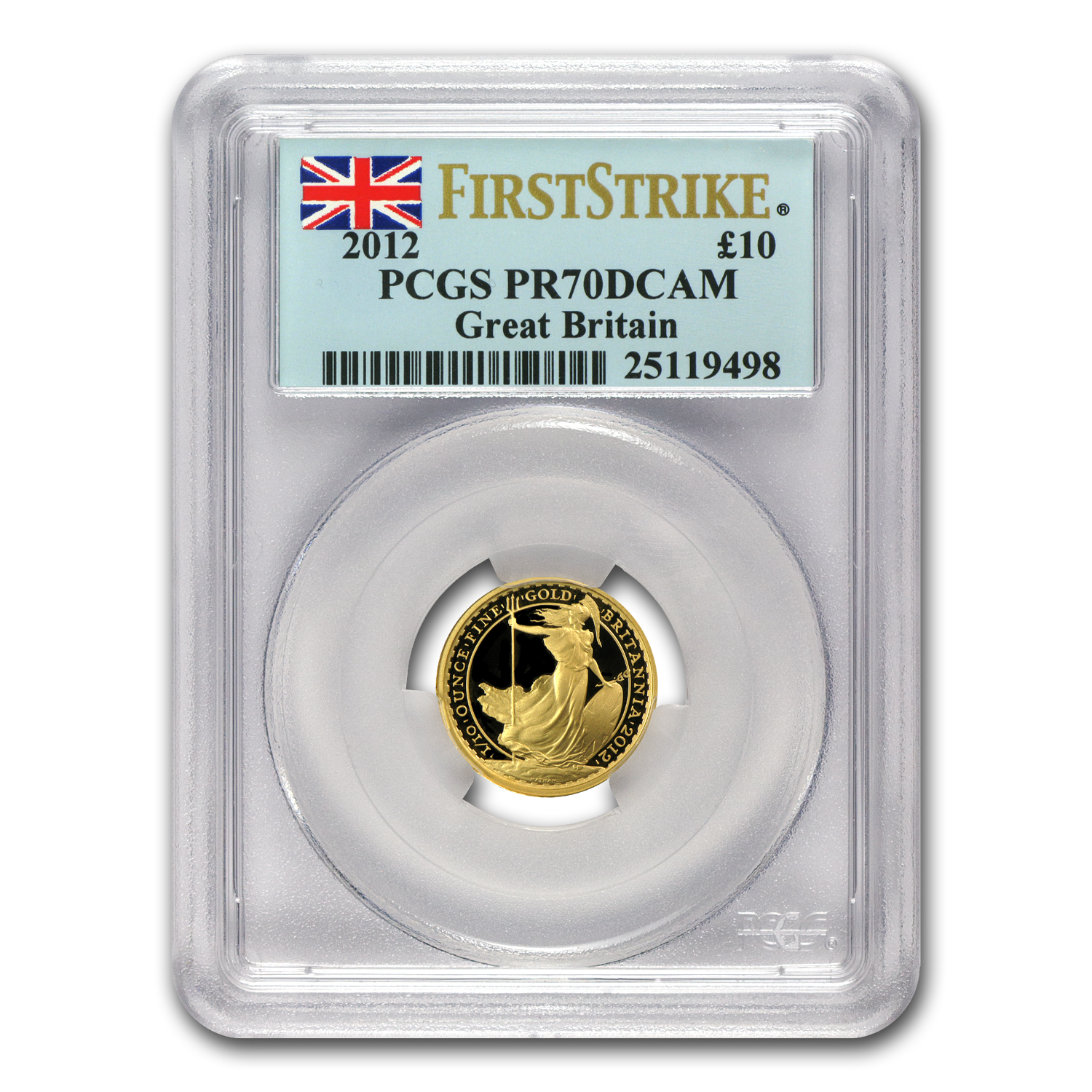 2012 Great Britain 1/10 oz Proof Gold Britannia PR-70 PCGS (FS)