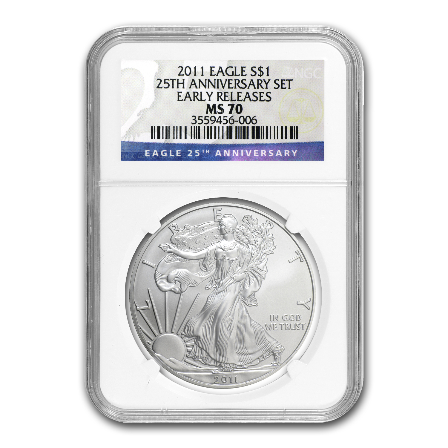 2011 Silver American Eagle MS-70 NGC (25th Ann, Early Releases)