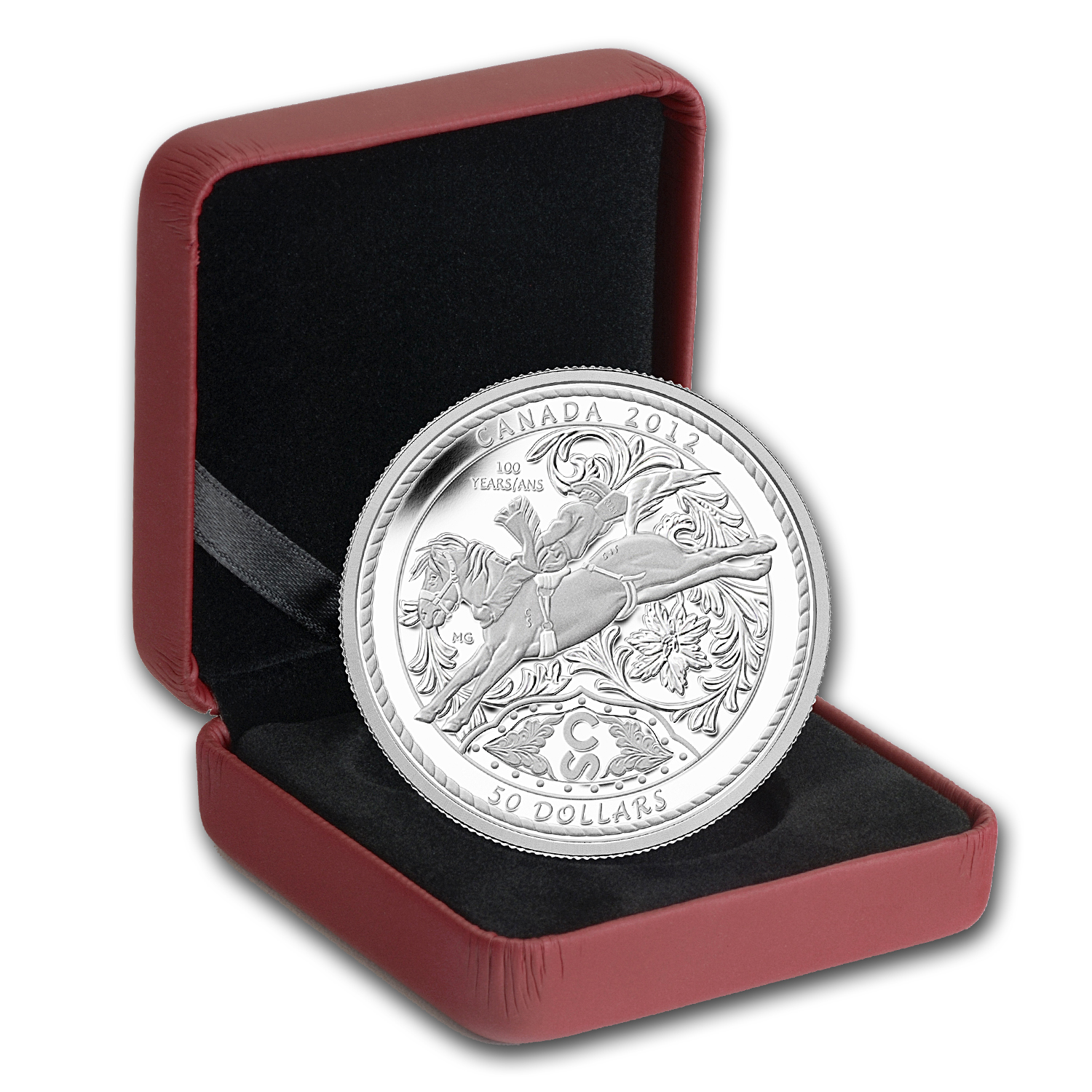2012 5 oz Silver Canadian $50 - Calgary Stampede Bucking Bronco