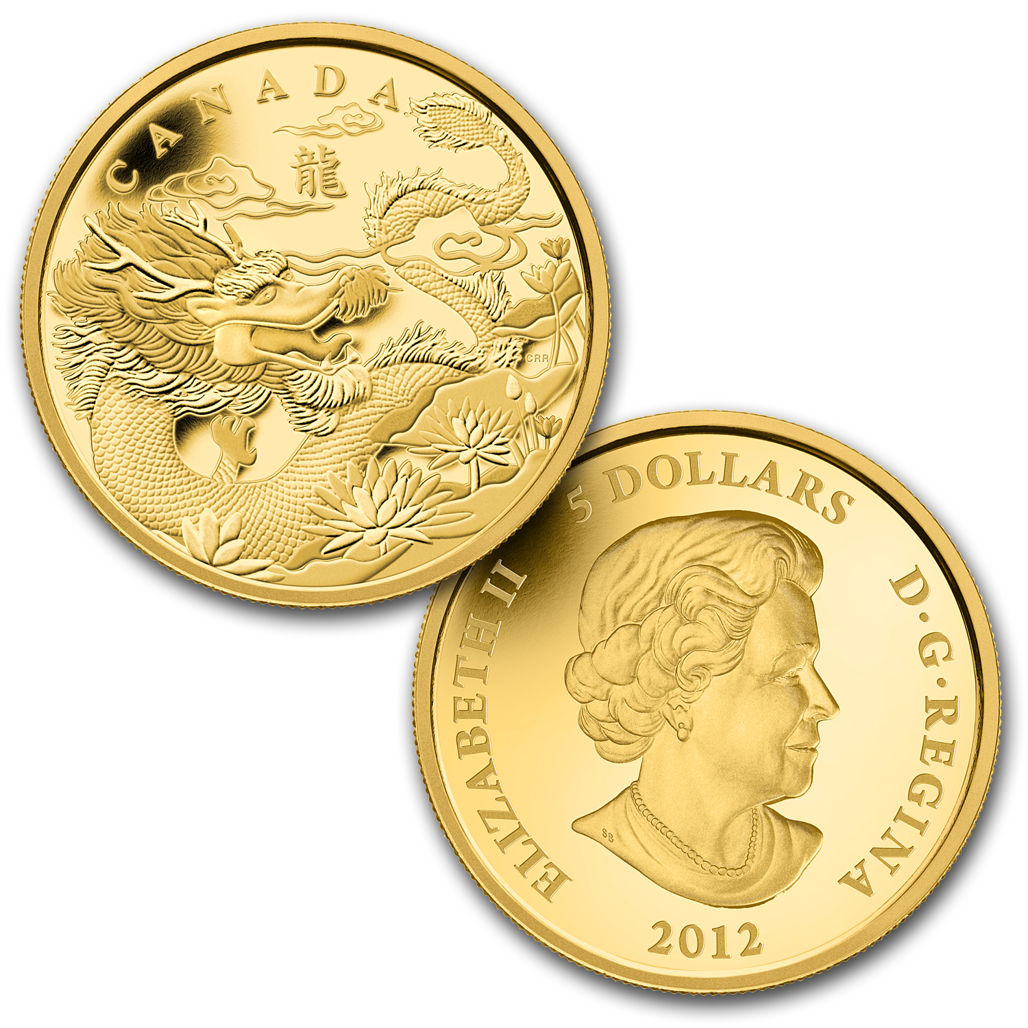 2012 4 Coin Gold Canadian Fractional Set - Year of the Dragon