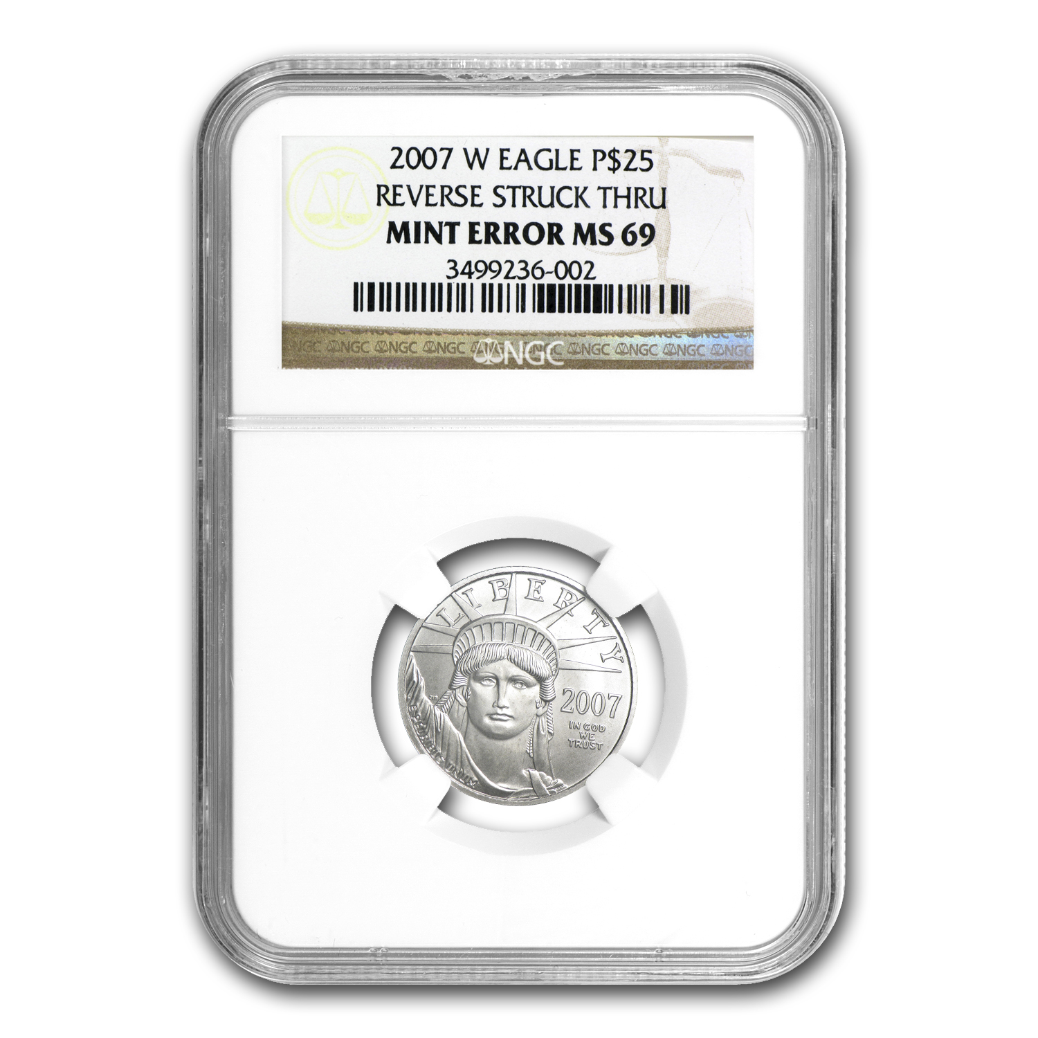 2007-W 1/4 oz Burnished Platinum Eagle MS-69 NGC (Mint Error)