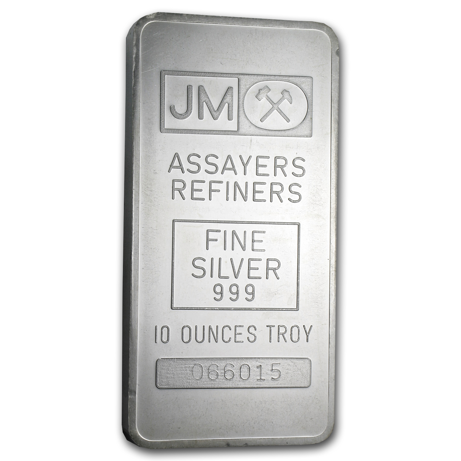 10 oz Silver Bar - Johnson Matthey (Pressed, Plain Back)