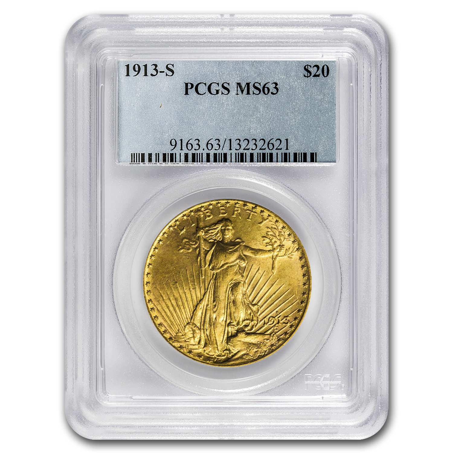 1913-S $20 St. Gaudens Gold Double Eagle MS-63 PCGS