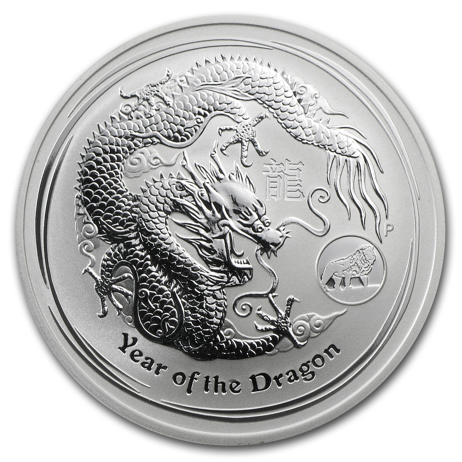 2012 Australia 1 oz Silver Year of the Dragon BU (Lion Privy)