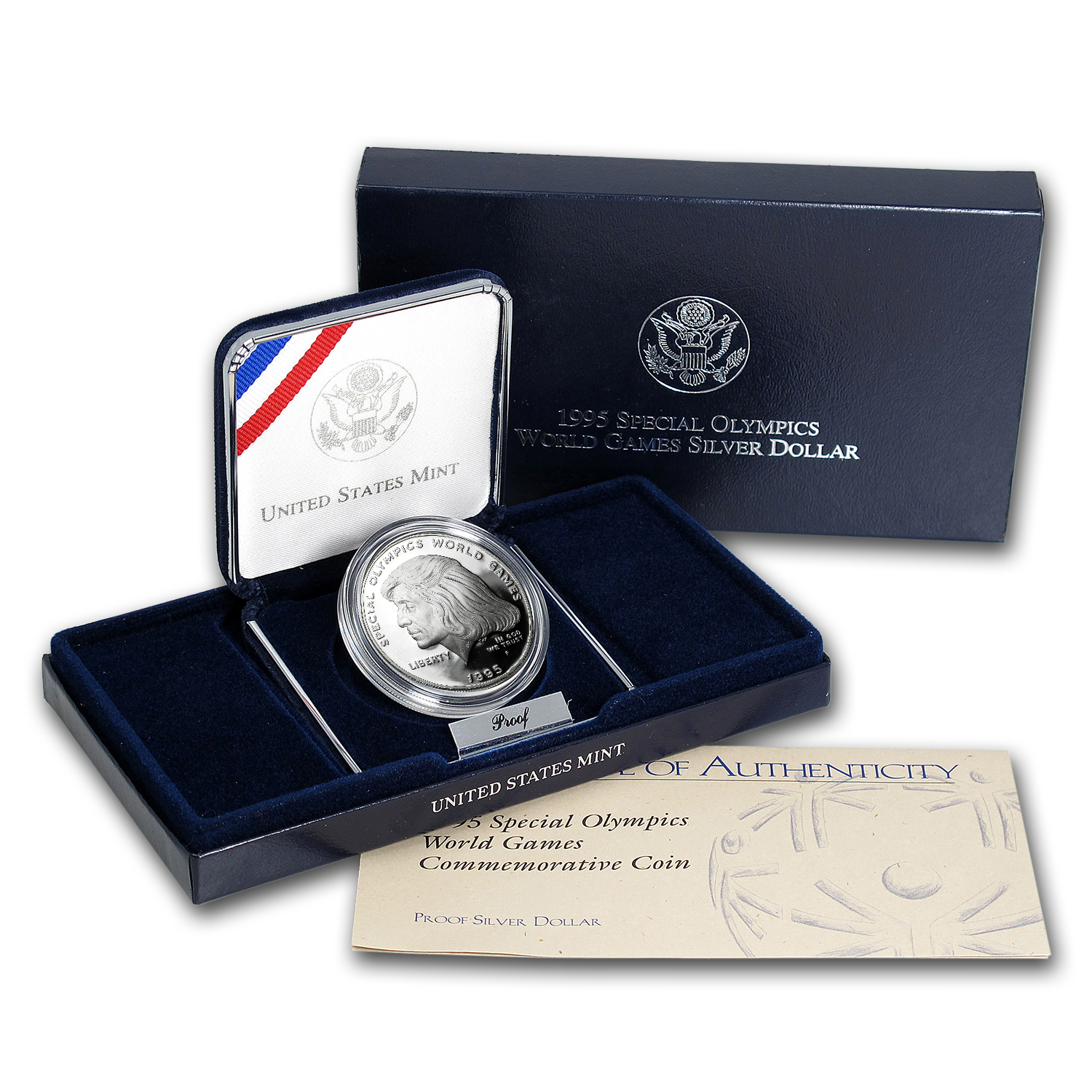1995-P Special Olympics $1 Silver Commem Proof (w/Box & COA)