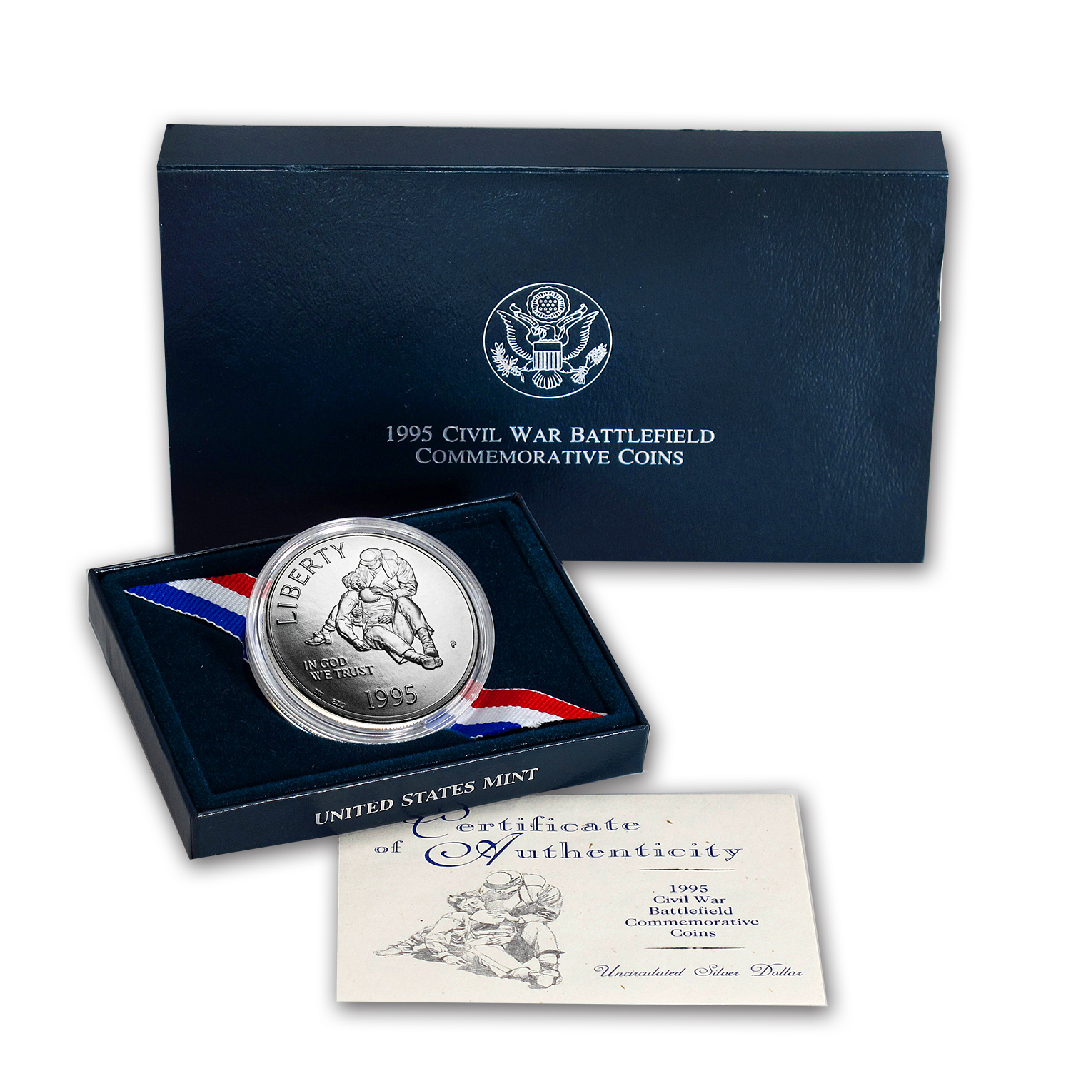 1995-P Civil War $1 Silver Commem BU (w/Box & COA)