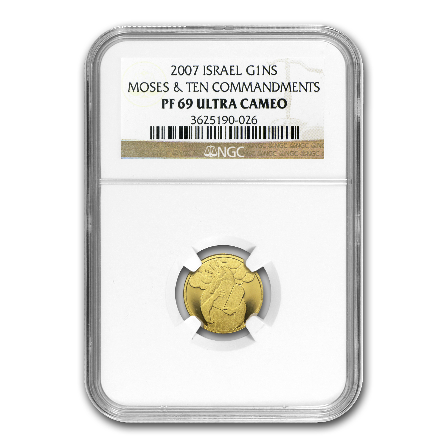 2007 Israel Moses Biblical Art Smallest Gold Coin PF-69 UCAM NGC