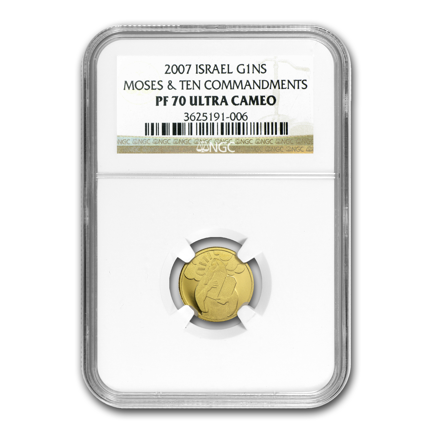 2007 Israel 1/25 oz Proof Gold Moses PF-70 NGC