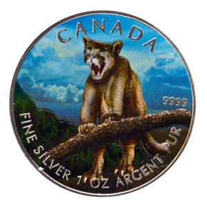 2012 1 oz Silver Canadian Wildlife Series Cougar (Full Colour)