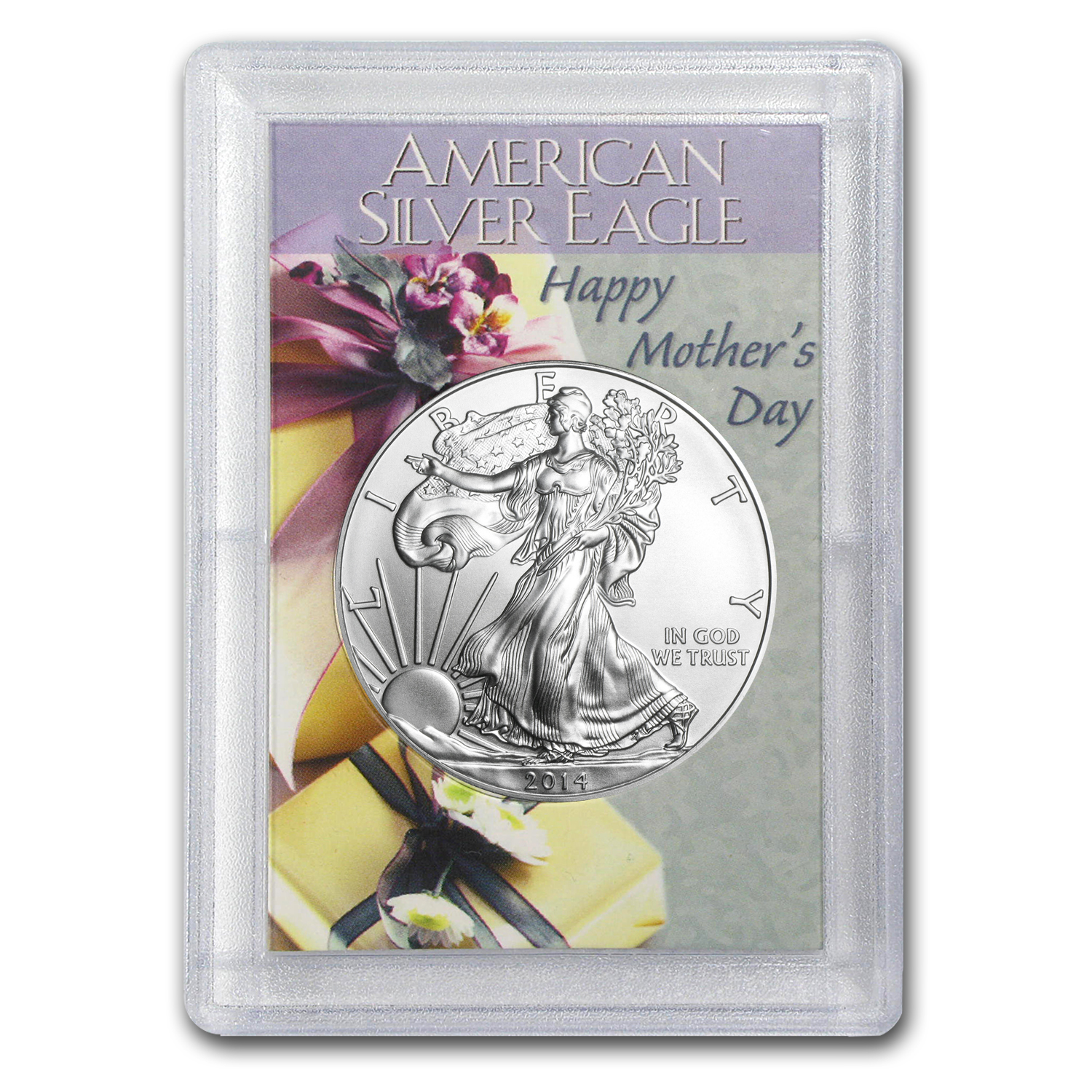 2014 1 oz Silver Eagle in Happy Mother's Day Design Harris Holder