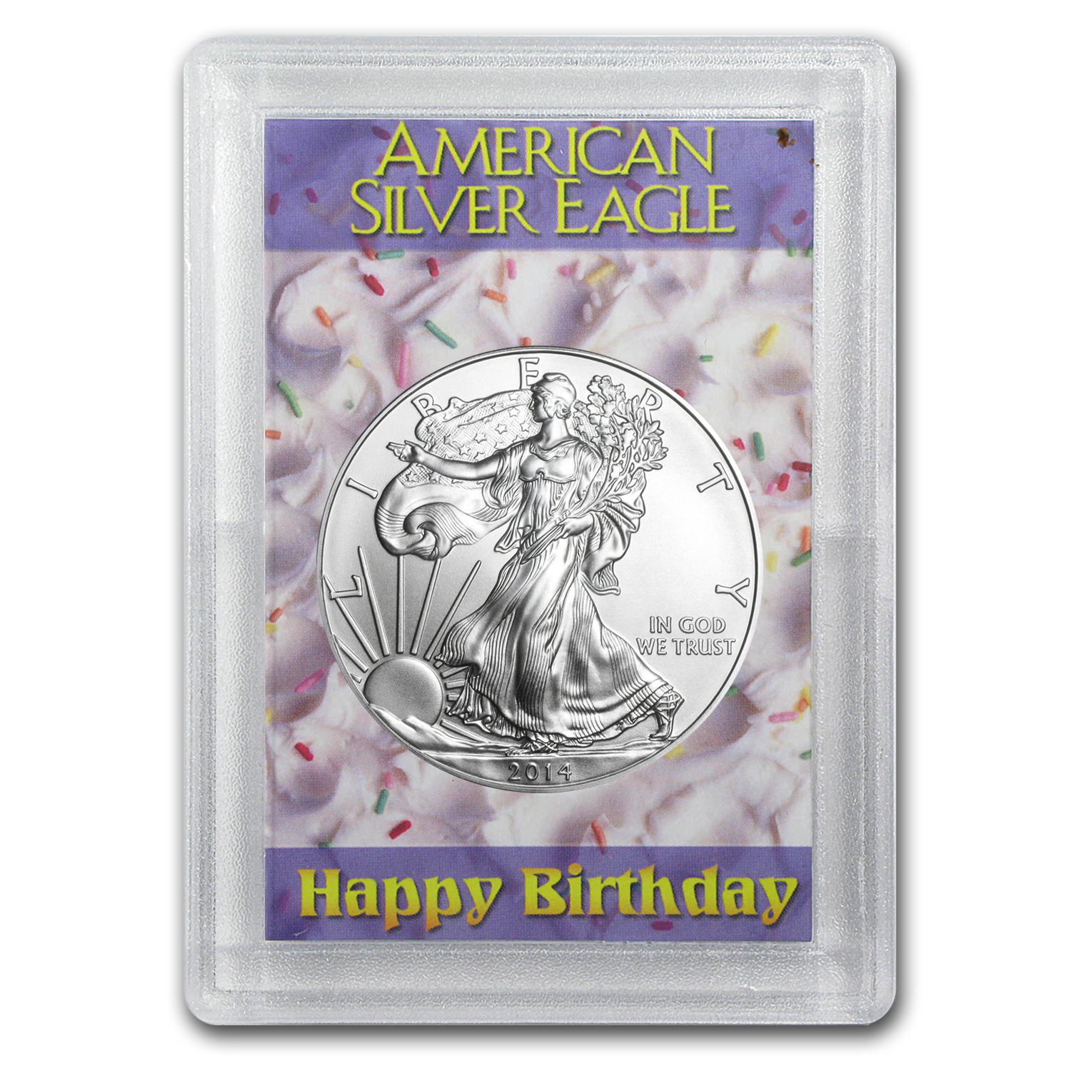 2014 1 oz Silver Eagle in Happy Birthday Design Harris Holder