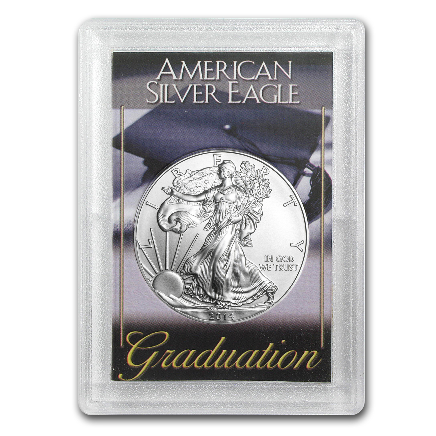 2014 1 oz Silver Eagle in Graduation Design Harris Holder