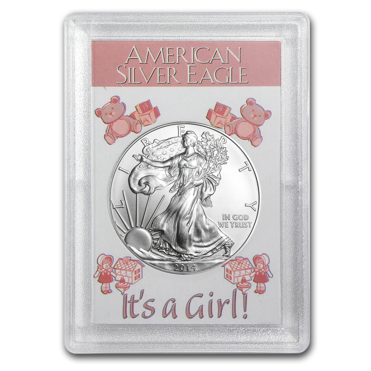 2014 1 oz Silver Eagle in Its a Girl! Design Harris Holder