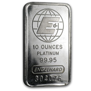 10 oz Platinum Bar - Engelhard (.9995 Fine, 'E' logo, Assay)