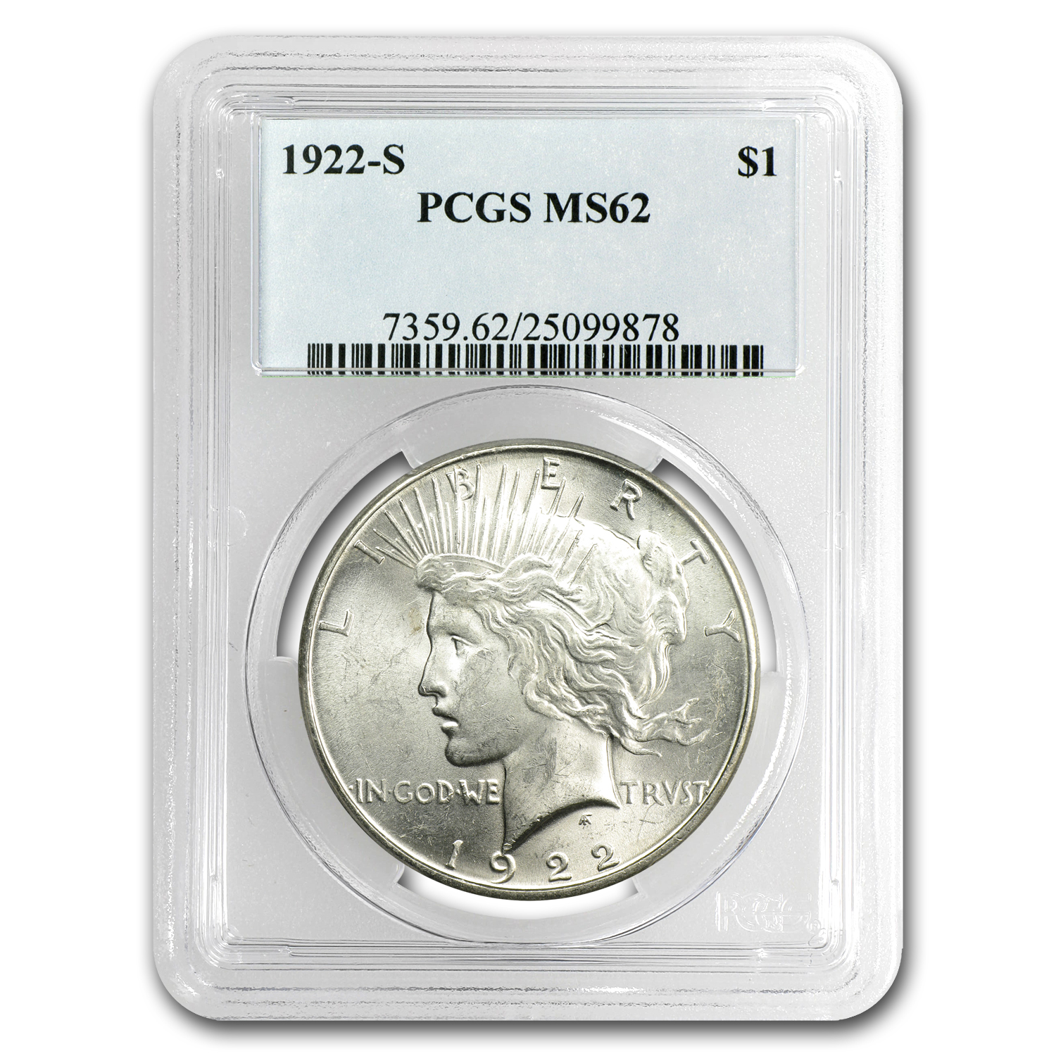 1922-S Peace Dollar MS-62 PCGS