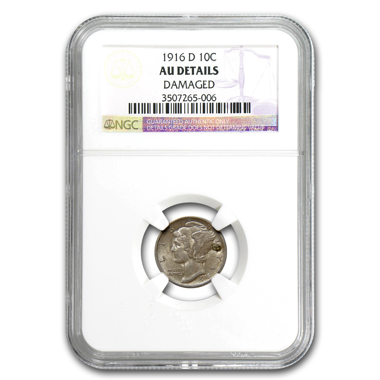 1916-D Mercury Dime Almost Uncirculated (Details) NGC - Key Date!