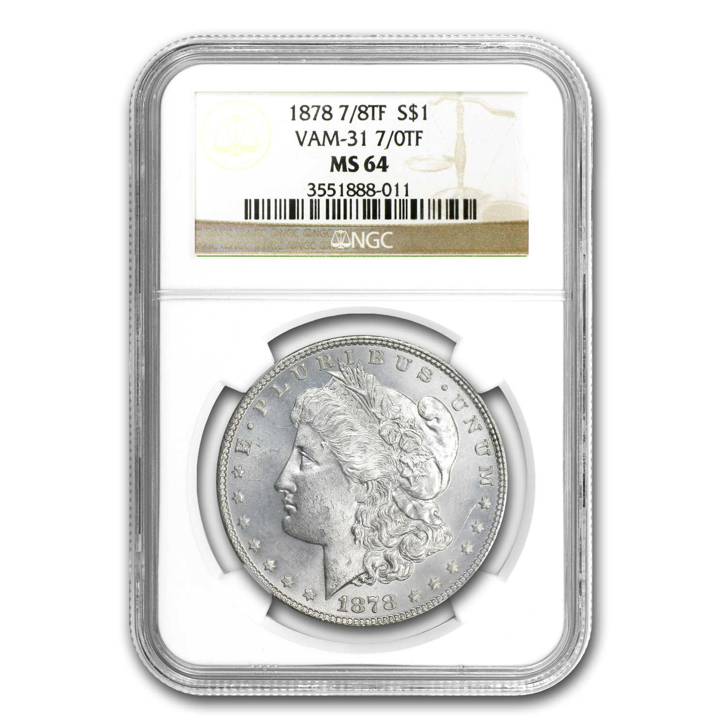 1878 Morgan Dollar - 7/0 TF MS-64 NGC - VAM-31 Lines Thru Leg