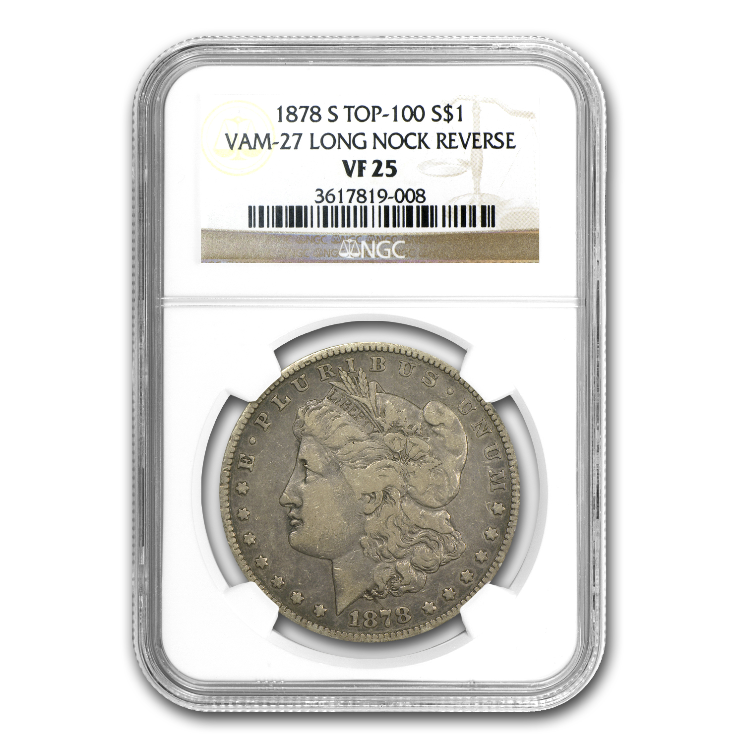1878-S Morgan Dollar VF-25 NGC (VAM-27, Long Nock, Top-100)